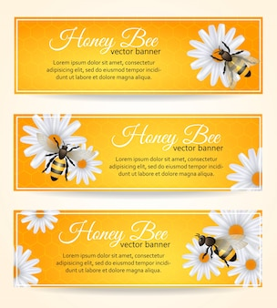 Bee banners set