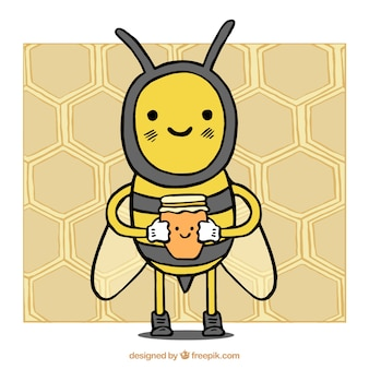 Bee with honey, hand drawn
