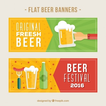 Beer banners in flat style