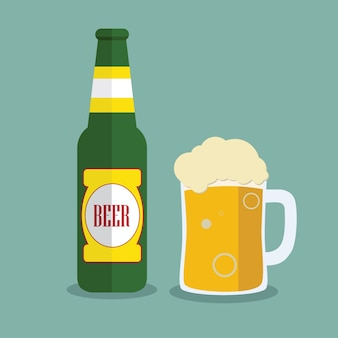 Beer bottle and mug with label isolated on background. Colorful vector icon or sign. Symbol or design elements for restaurant, beer pub or cafe