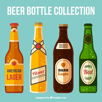Beer bottles set in flat design