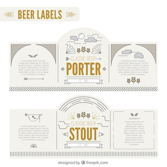 Beer labels in minimalist style