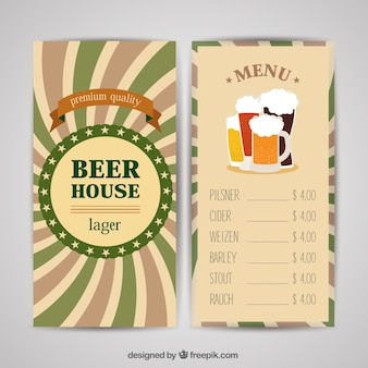 Beer menu with different colors