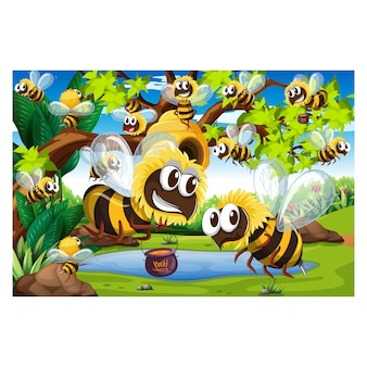 Bees background design