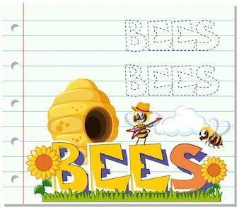 庭で飛んでいるミツバチ