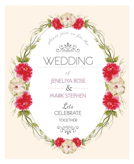 Beige and red florar wreath wedding invitation