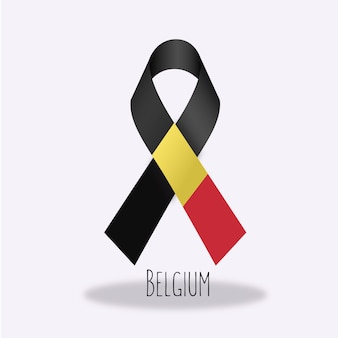 Belgium flag ribbon design