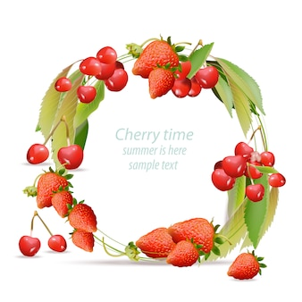 Berries wreath background