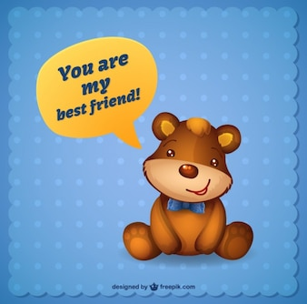 Best friend card with a teddy bear