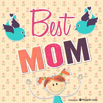 Best mom card with hand drawn girl and birds
