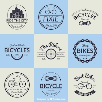Bicycle badge collection in vintage design