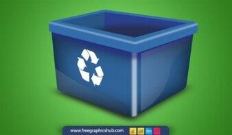 Big blue trash bin vector icon