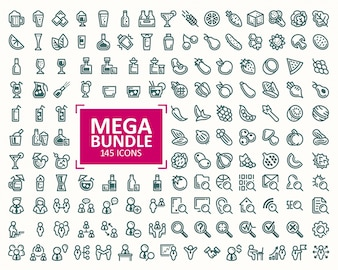 Big bundle, set of vector illustrations fine line icons. 32x32 pixel perfect
