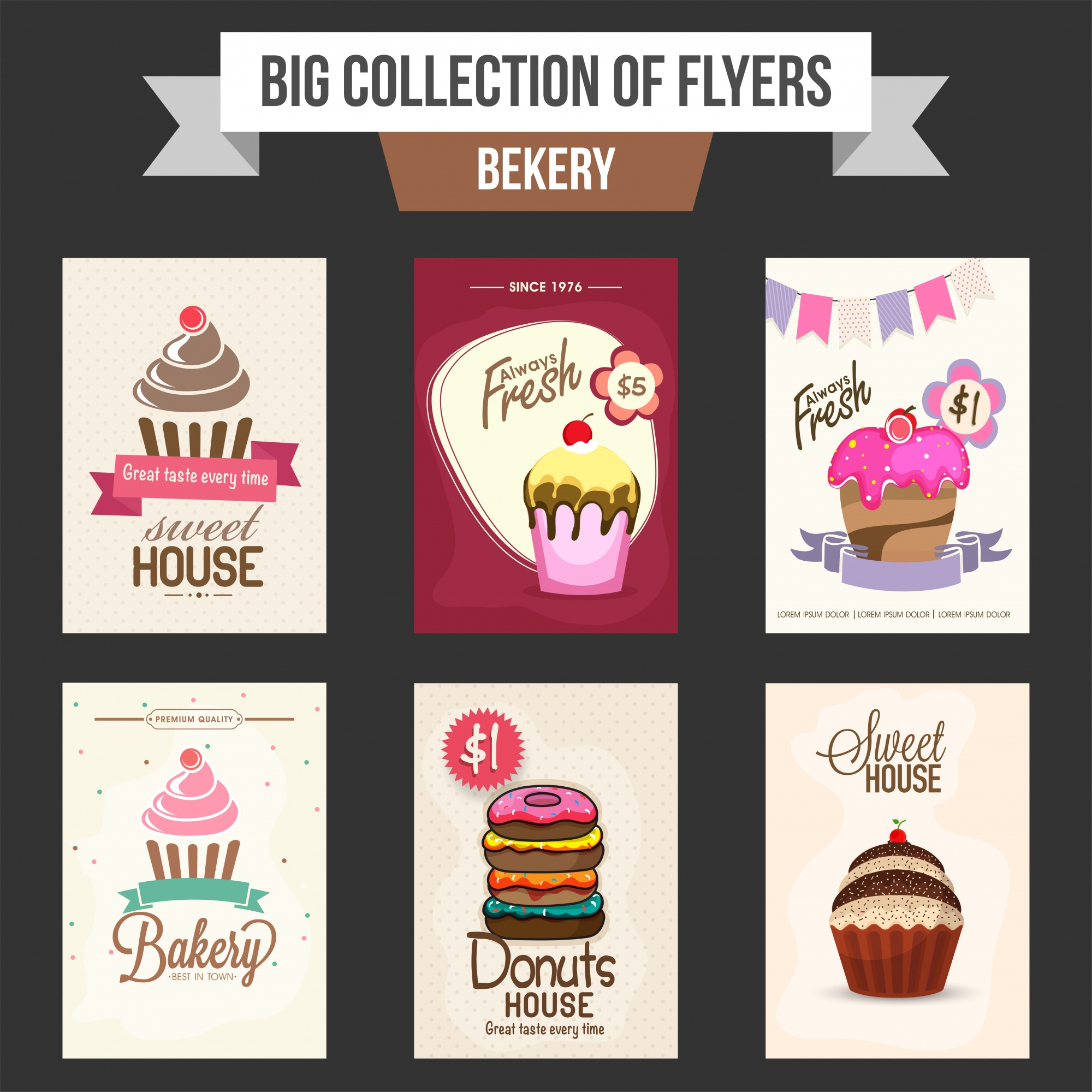 Big collection of Bakery flyers or templates design with illustration of sweet cupcakes and donut