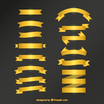 Big collection of golden ribbon in flat design