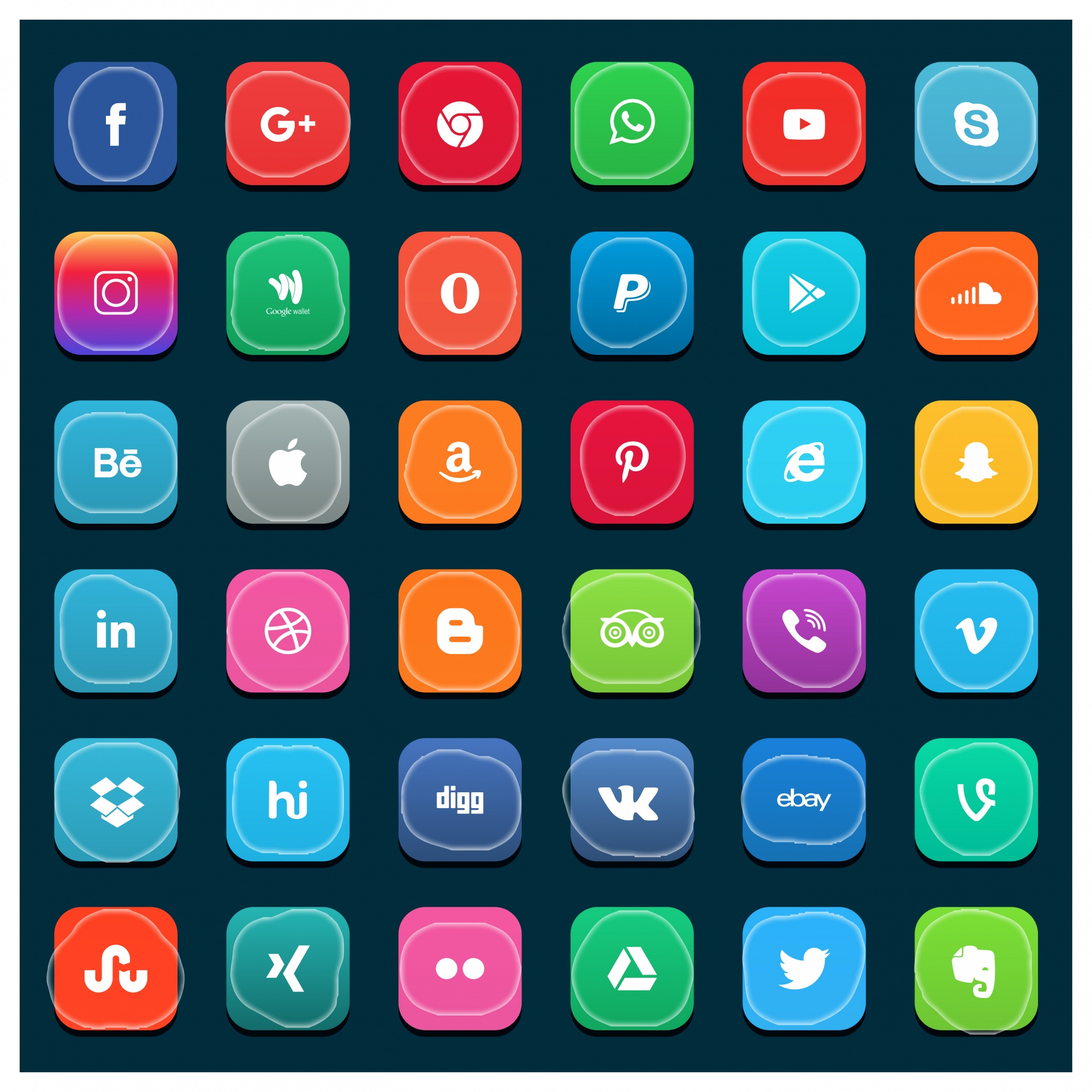Big collection of social media icons