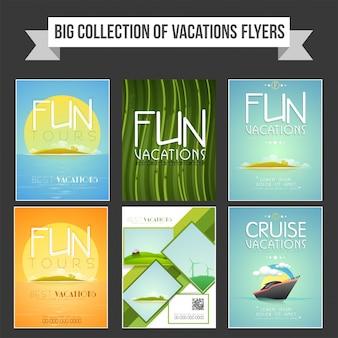 ツアーと旅行コンセプトのバケーションフライヤー、テンプレート、バナーデザインの大集合