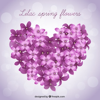 Big heart made of lilac flowers background