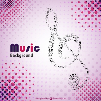 Big music clef made of little music notes