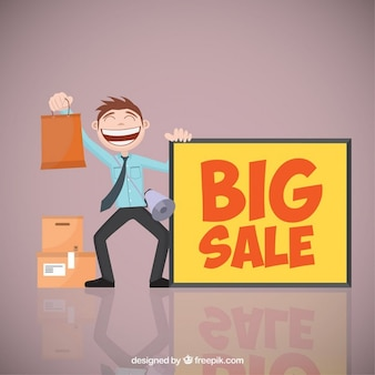 Big sale banner and a man