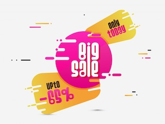 Big Sale Banner or Sale Poster Design in pink and golden colors.