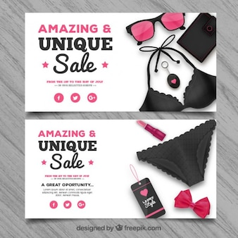 Big sale banners with summer accessories