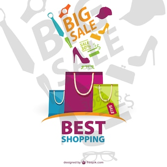 Big sales background with colorful shopping bags and fashion complements