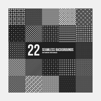 Big set of 22 simple geometric patterns. Useful for textile design and wrapping.