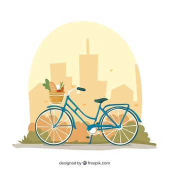 Bike and city background design