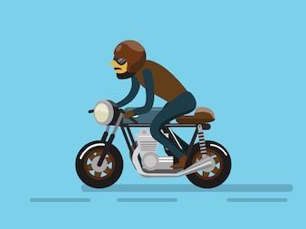 オートバイに乗るバイカー。フラットなキャラクターデザイン。ベクトルイラスト