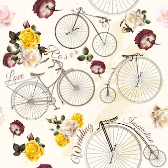 Bikes and flowers pattern design