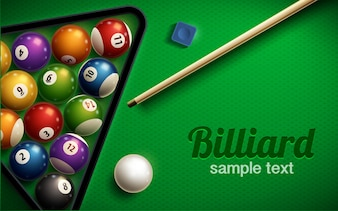 Billiard table top view balls sport theme
