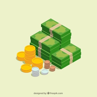Bills and coins in isometric design
