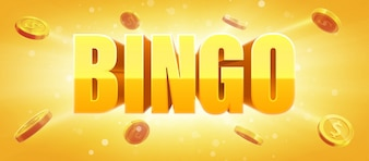 Bingo sign with gold realistic 3d coins glowing background