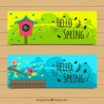 Bird banners and spring breeze