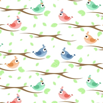 Bird on the branpattern with birds on branches