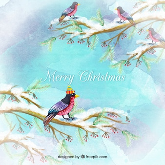 Birds on a branch christmas background watercolor