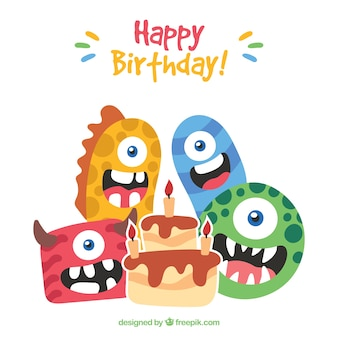 Birthday background of nice monsters