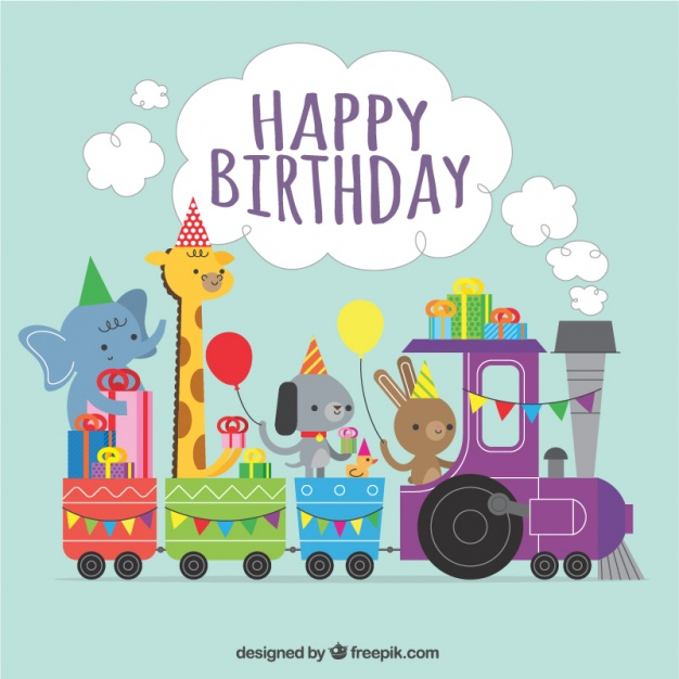 Birthday background of train with lovely animals