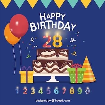 Birthday background with cake and other elements