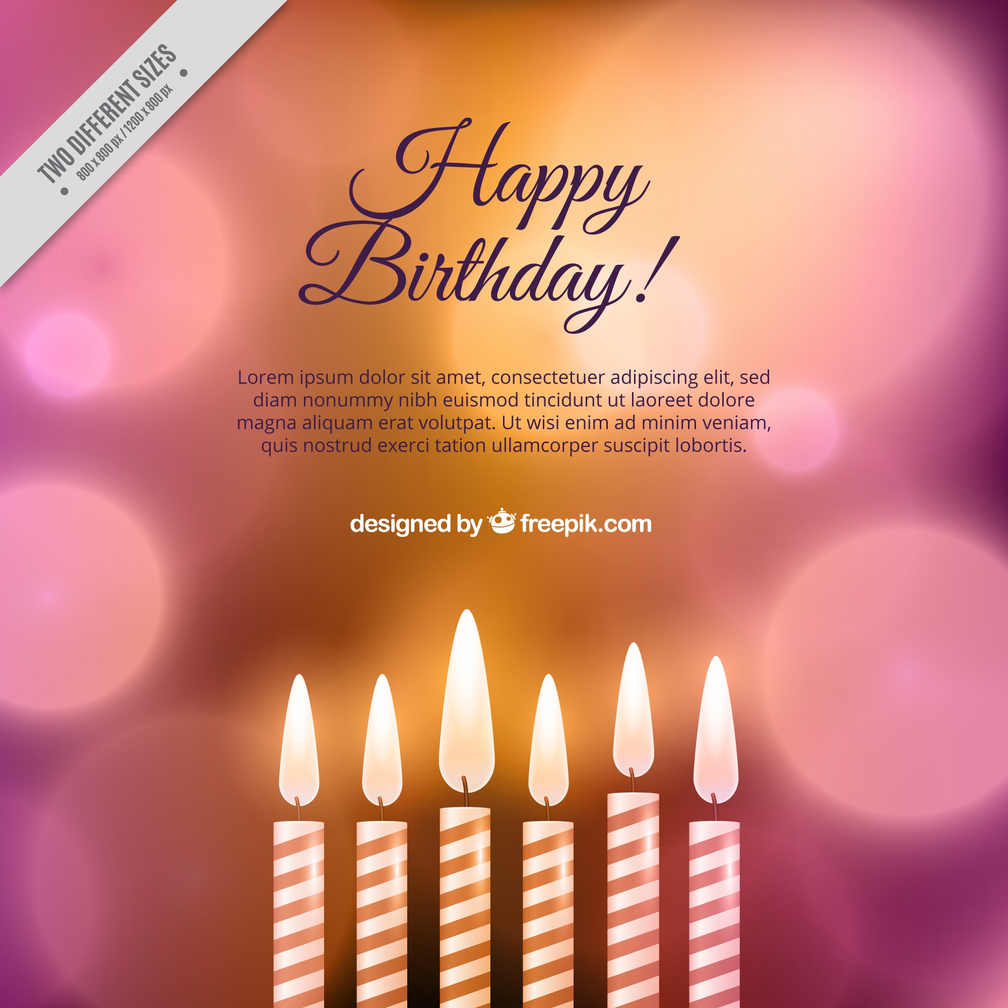 Birthday background with candles and blurred effect
