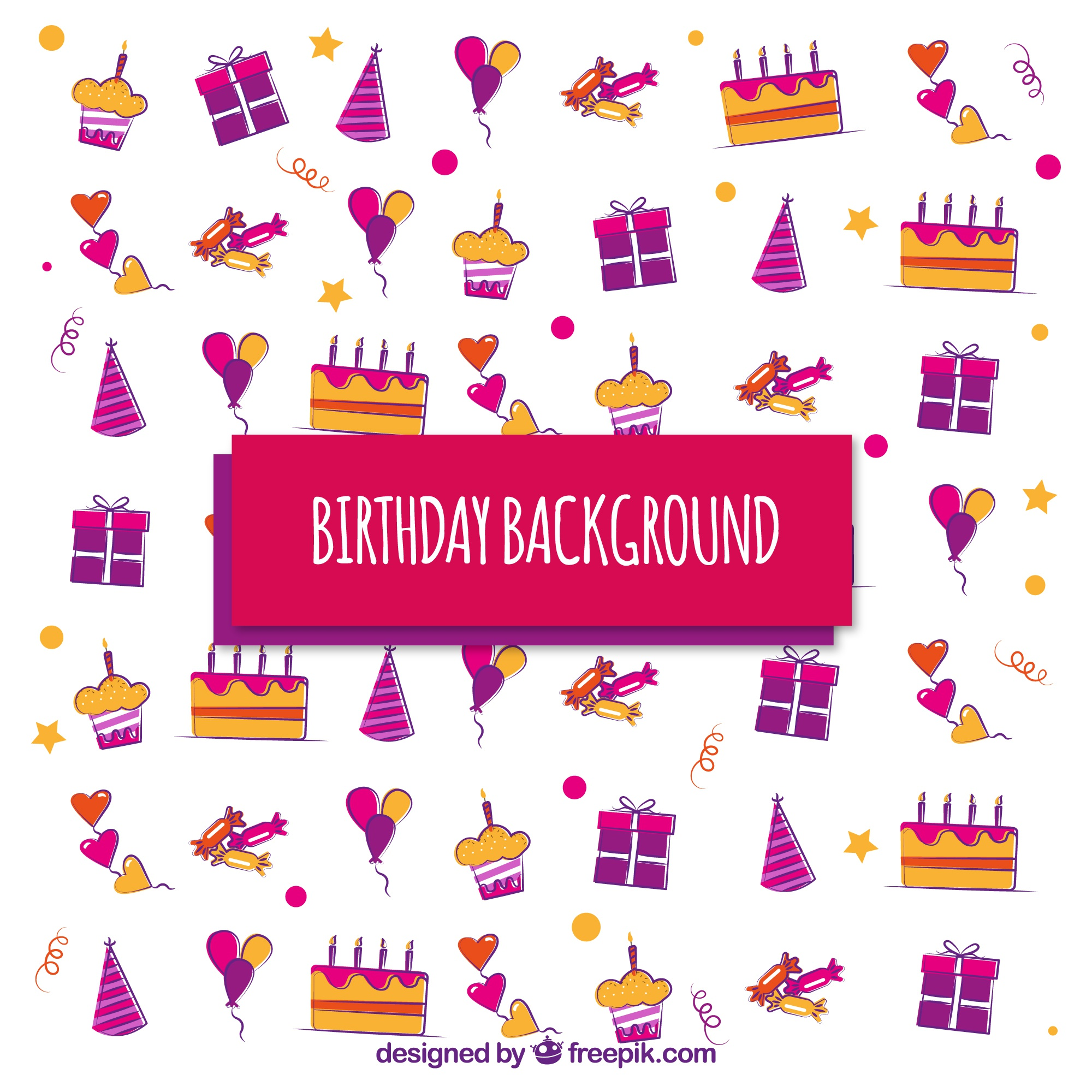 Birthday background with colored sweets