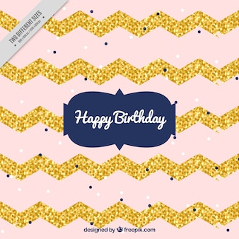 Birthday background with golden zigzag lines