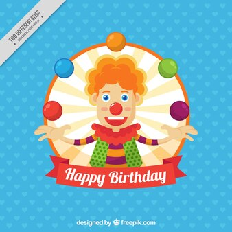 Birthday background with nice clown