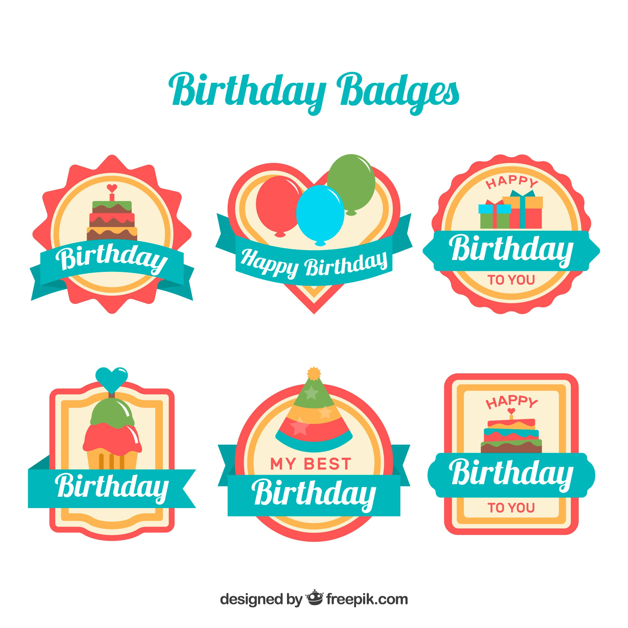 Birthday badges for children collection