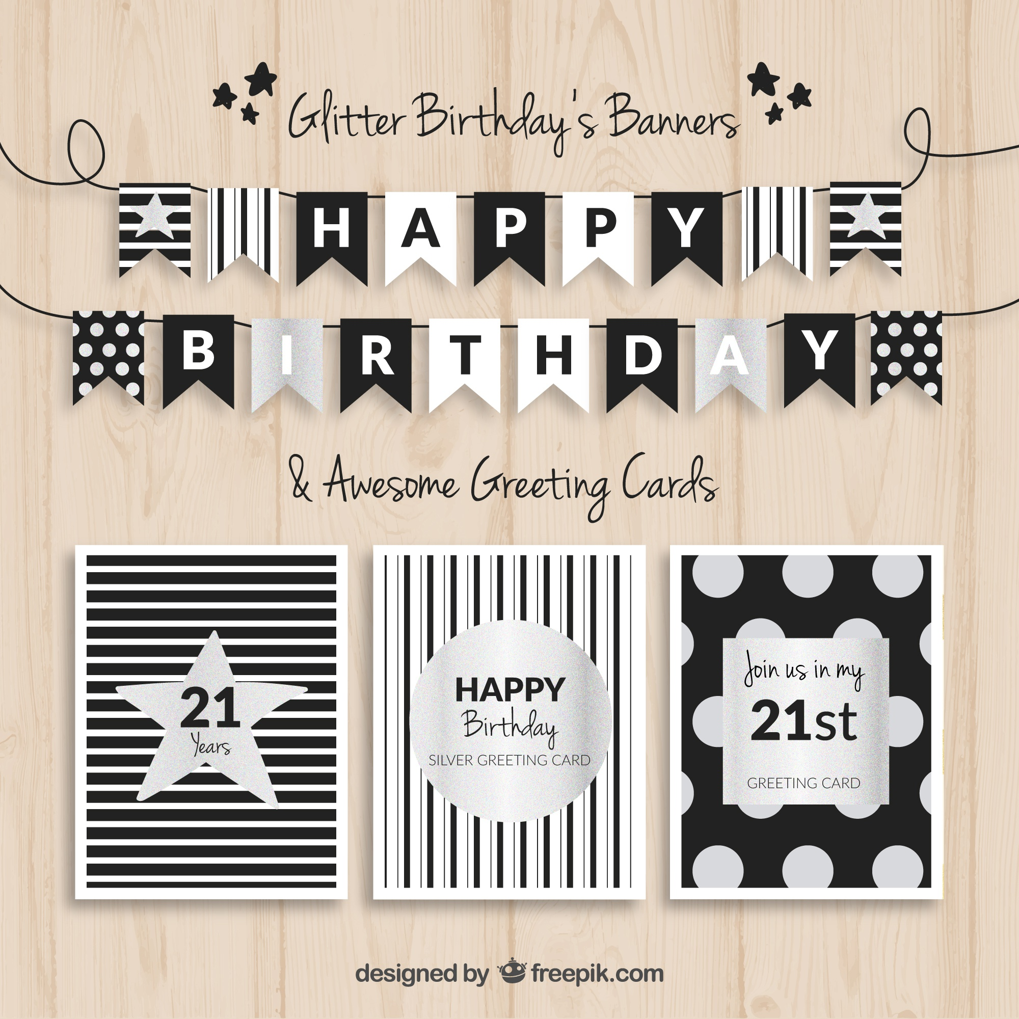 Birthday banners and cards black and silver