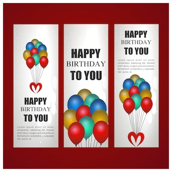 Birthday banners template with balloons