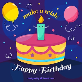 Birthday cake background with a candle