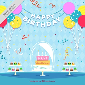 Birthday cake background with balloons in flat design