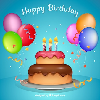 Birthday cake background with colorful balloons and confetti